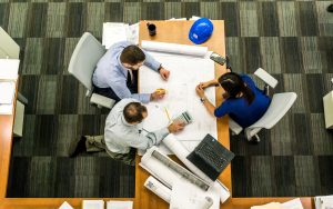 meeting over blueprints